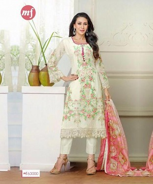 Lady Fashion Villa white designer salwar suit @ Rs1323.00