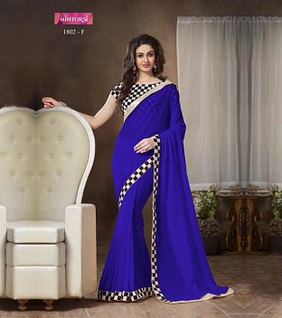 Lady Fashion Villa blue designer sarees @ Rs927.00