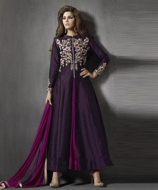 Beautiful Purple Tapeta Silk Semi-Stitched Salwar Suit @ Rs1607.00