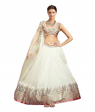 Nandani Ethnic Wear White Net Border Work Semi Stitched Replica Designer Lehenga @ Rs2049.00