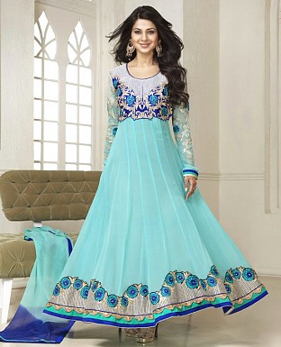 Latest Designer cyan Embroidered Anarkali suit@ Rs.1169.00