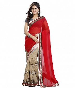 Style Sensus Red Faux Georgette Saree @ Rs2096.00