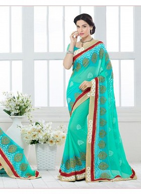 New Aqua Blue Nazneen Chiffon Designer Saree@ Rs.1730.00
