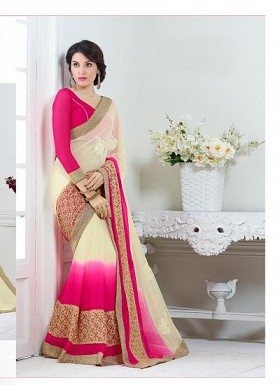 New Magenta & Cream Nazneen Chiffon Designer Saree@ Rs.1730.00