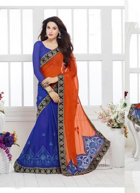 New Blue & Orange Nazneen Chiffon Designer Saree@ Rs.1730.00