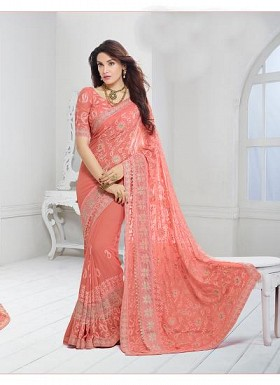 New Peach Nazneen Chiffon Designer Saree@ Rs.1730.00