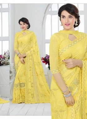 New Yellow Nazneen Chiffon Designer Saree@ Rs.1730.00