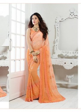New Orange Nazneen Chiffon Designer Saree @ Rs1730.00