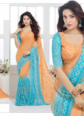 New Sky & Orange Nazneen Chiffon Designer Saree Buy Rs.1730.00