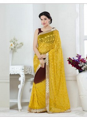 New Yellow & Brown Nazneen Chiffon Designer Saree@ Rs.1730.00