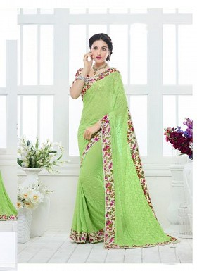 New Lime Green Nazneen Chiffon Designer Saree@ Rs.1730.00