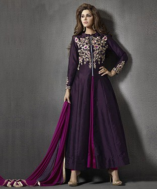 PURPLE RESHAM ZARI SILK ANARKALI SUIT @ Rs2657.00