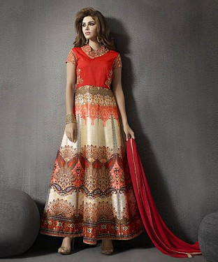 ORANGE AND OFF WHITE DIAMOND ZARI SILK ANARKALI SUIT @ Rs3027.00