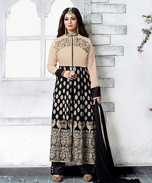 BLACK AND CREAM EMBROIDERED FAUX GEORGETTE STRAIGHT SUIT @ Rs2471.00