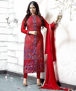 RED AND BLUE EMBROIDERED FAUX GEORGETTE STRAIGHT SUIT @ Rs2471.00