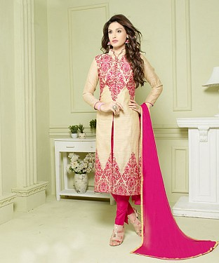CREAM AND PINK EMBROIDERED HEAVY CHANDERI STRAIGHT SUIT @ Rs1297.00