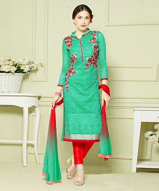 LIME GREEN AND RED EMBROIDERED HEAVY CHANDERI STRAIGHT SUIT @ Rs1297.00