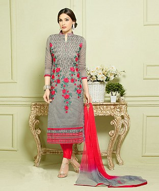 GREY AND RED EMBROIDERED HEAVY CHANDERI STRAIGHT SUIT @ Rs1297.00