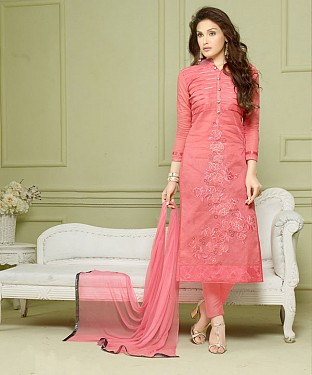 PEACH EMBROIDERED HEAVY CHANDERI STRAIGHT SUIT @ Rs1297.00