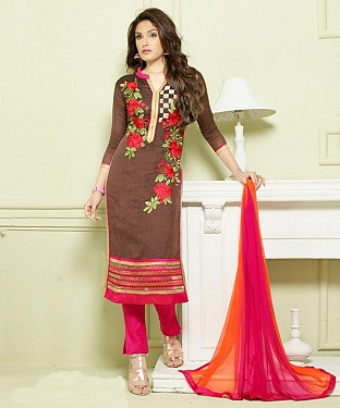 BROWN AND PINK EMBROIDERED HEAVY CHANDERI STRAIGHT SUIT @ Rs1297.00