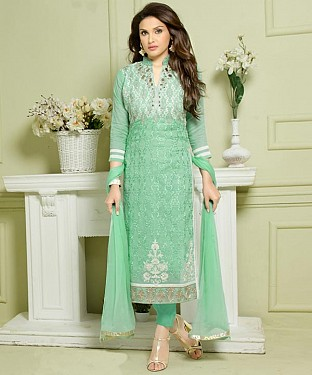 LIGHT GREEN EMBROIDERED HEAVY CHANDERI STRAIGHT SUIT @ Rs1297.00