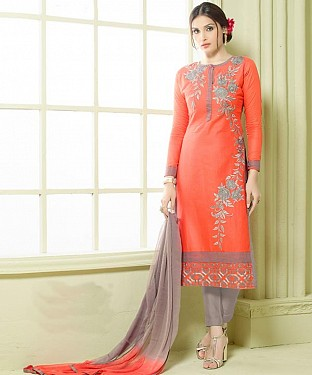 ORANGE & GREY EMBROIDERED HEAVY CHANDERI STRAIGHT SUIT @ Rs1297.00