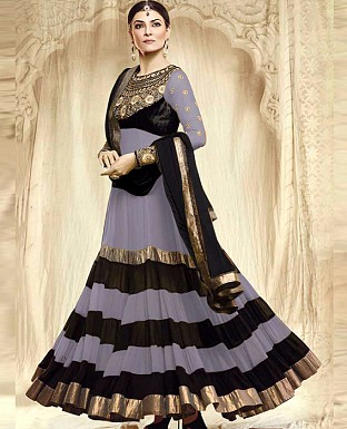 Party Were Blackand grey Anarkali suit @ Rs1217.00