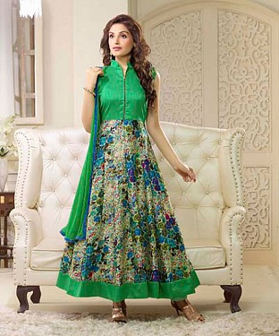 GREEN AND MULTY PRINTED BHAGALPURI PRINT ANARKALI SUIT @ Rs1606.00