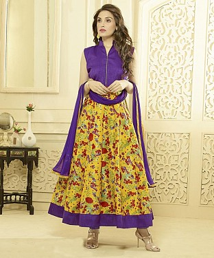 PURPLE AND MULTY PRINTED BHAGALPURI PRINT ANARKALI SUIT @ Rs1606.00