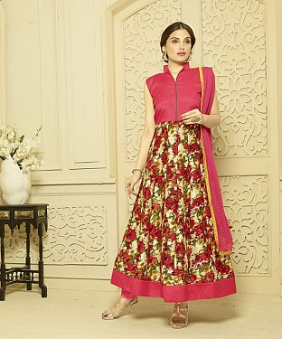 PEACH AND MULTY PRINTED BHAGALPURI PRINT ANARKALI SUIT @ Rs1606.00