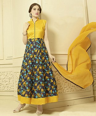 YELLOW AND MULTY PRINTED BHAGALPURI PRINT ANARKALI SUIT @ Rs1606.00