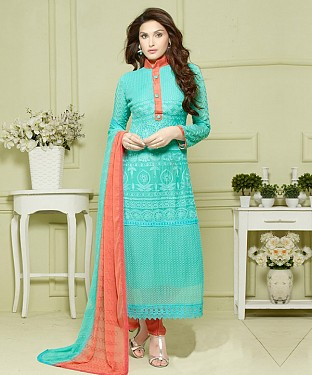 SKY AND ORANGE EMBROIDERED PURE CHIFFON STRAIGHT SUIT @ Rs1606.00