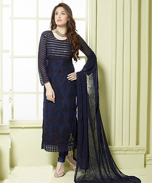 NAVY BLUE EMBROIDERED PURE CHIFFON STRAIGHT SUIT @ Rs1606.00
