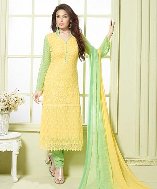 YELLOW AND LIGHT GREEN EMBROIDERED PURE CHIFFON STRAIGHT SUIT @ Rs1606.00