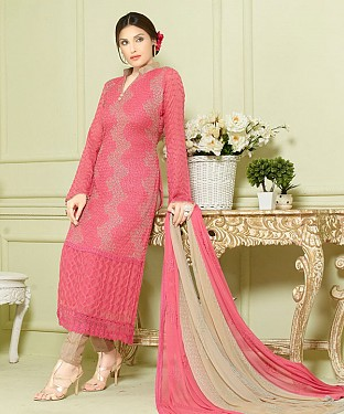 PINK AND BEIGE EMBROIDERED PURE CHIFFON STRAIGHT SUIT @ Rs1606.00