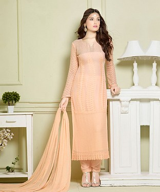LIGHT ORANGE EMBROIDERED PURE CHIFFON STRAIGHT SUIT @ Rs1606.00