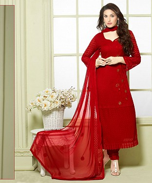 MAROON EMBROIDERED PURE CHIFFON STRAIGHT SUIT @ Rs1606.00