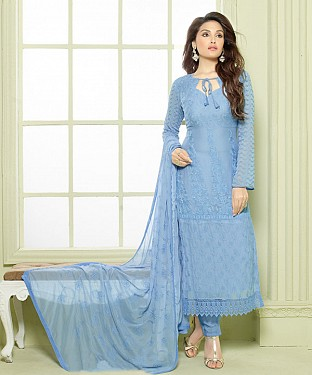 LIGHT BLUE EMBROIDERED PURE CHIFFON STRAIGHT SUIT @ Rs1606.00