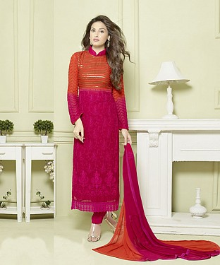 PINK AND ORANGE EMBROIDERED PURE CHIFFON STRAIGHT SUIT @ Rs1606.00