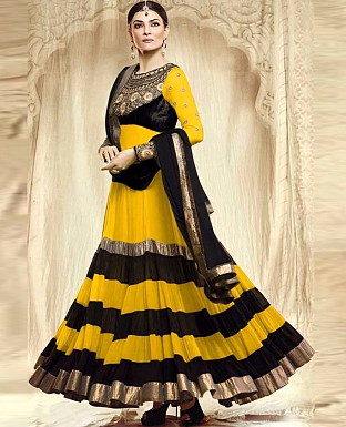 Beautiful Fancy Yellow Groun Model Anarkali Suit @ Rs1297.00