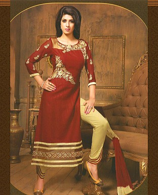 Embroidery Straight Cotton Suit With Duppta@ Rs.711.00