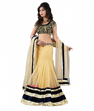 Omtex Fab Beautiful Chiku Color Lehenga With Velvet Blouse Piece @ Rs3347.00