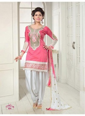 92-Pink Salwar Suit Dress Material Patiya Suit @ Rs1112.00