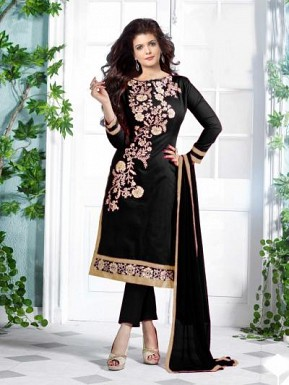 Lovely Black Floral Embroidery Cotton salwar suit @ Rs557.00