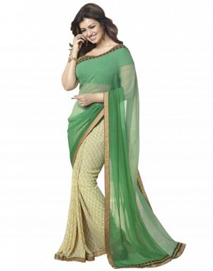 Beautiful Green Printed,lace Work Georgette Saree @ Rs680.00