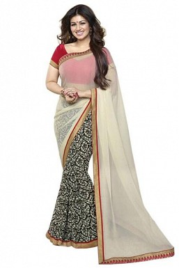 Beautiful OffWhite Printed,lace Work Georgette Saree @ Rs680.00