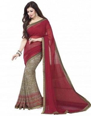 Beautiful Maroon Printed,lace Work Georgette Saree @ Rs680.00