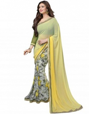 Beautiful Yellow Printed,lace Work Georgette Saree @ Rs680.00