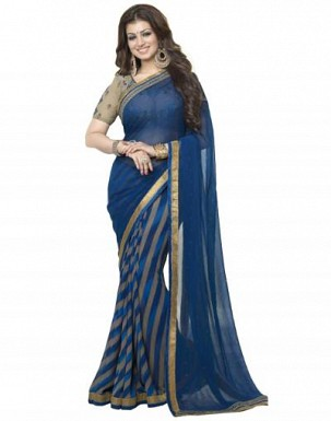 Beautiful Blue Printed,lace Work Georgette Saree @ Rs680.00