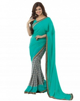 Beautiful Aqua Green Printed,lace Work Georgette Saree @ Rs680.00